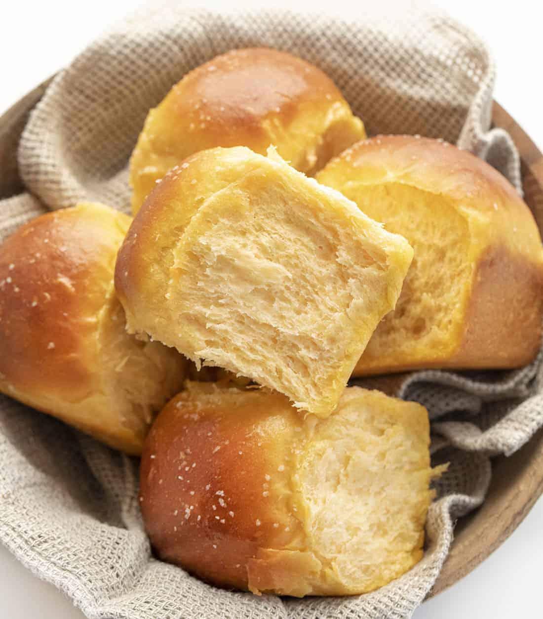 Sweet Potato Rolls in a Basket