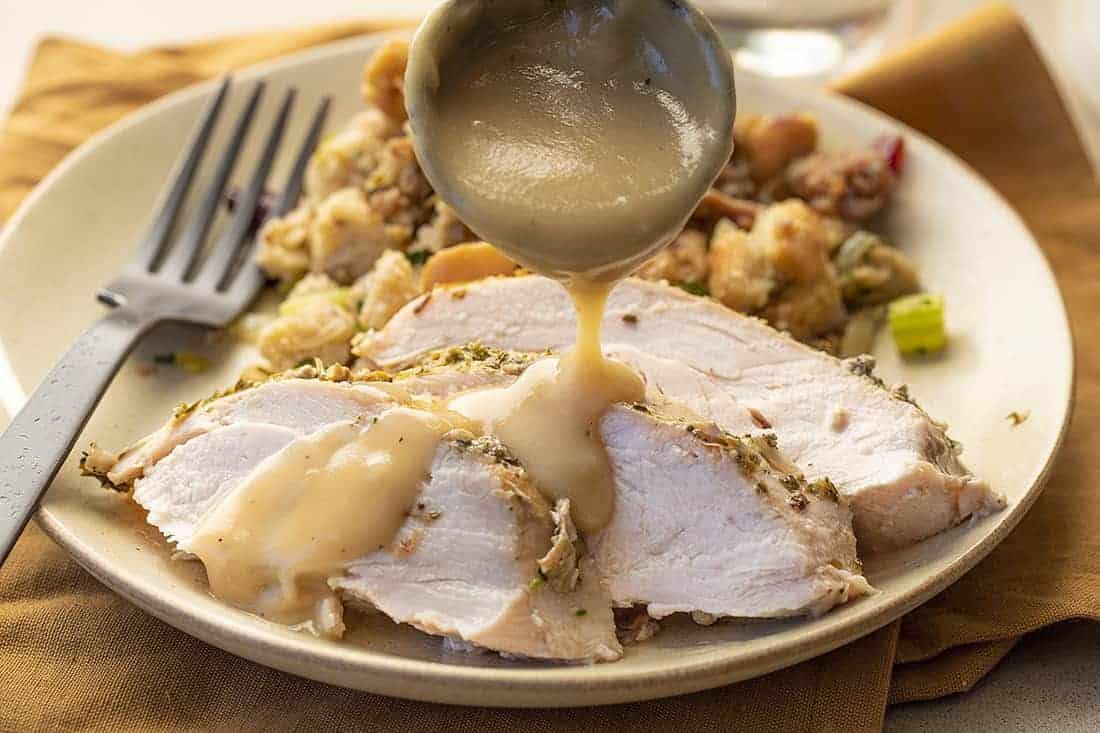 Turkey Brine Gravy Poured Over Turkey