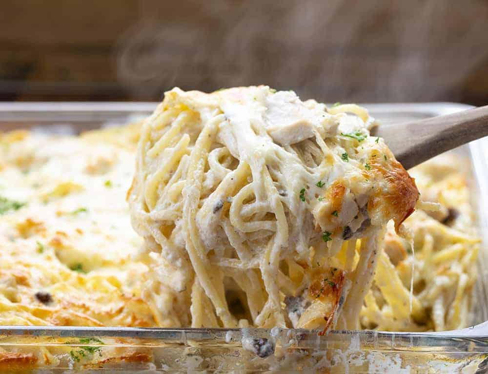 Turkey Tetrazzini With Steam in Casserole Dish