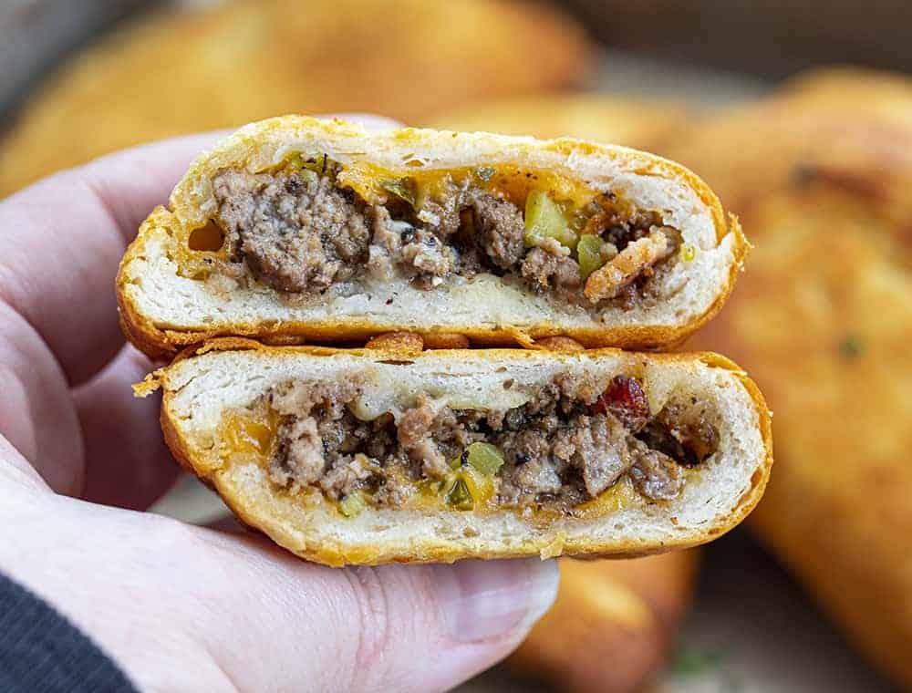 Cheeseburger Hand Pie Cut in Half
