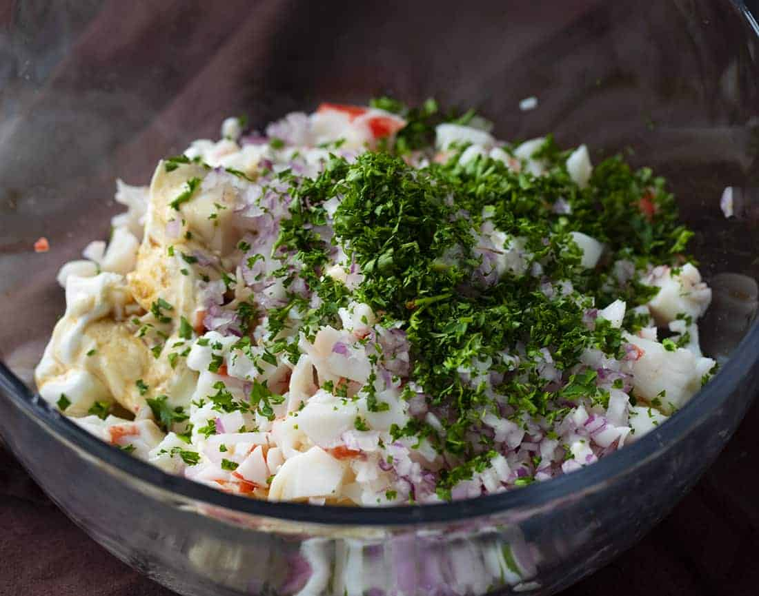 Bowl of Raw Ingredients for Easy Crab Dip Recipe
