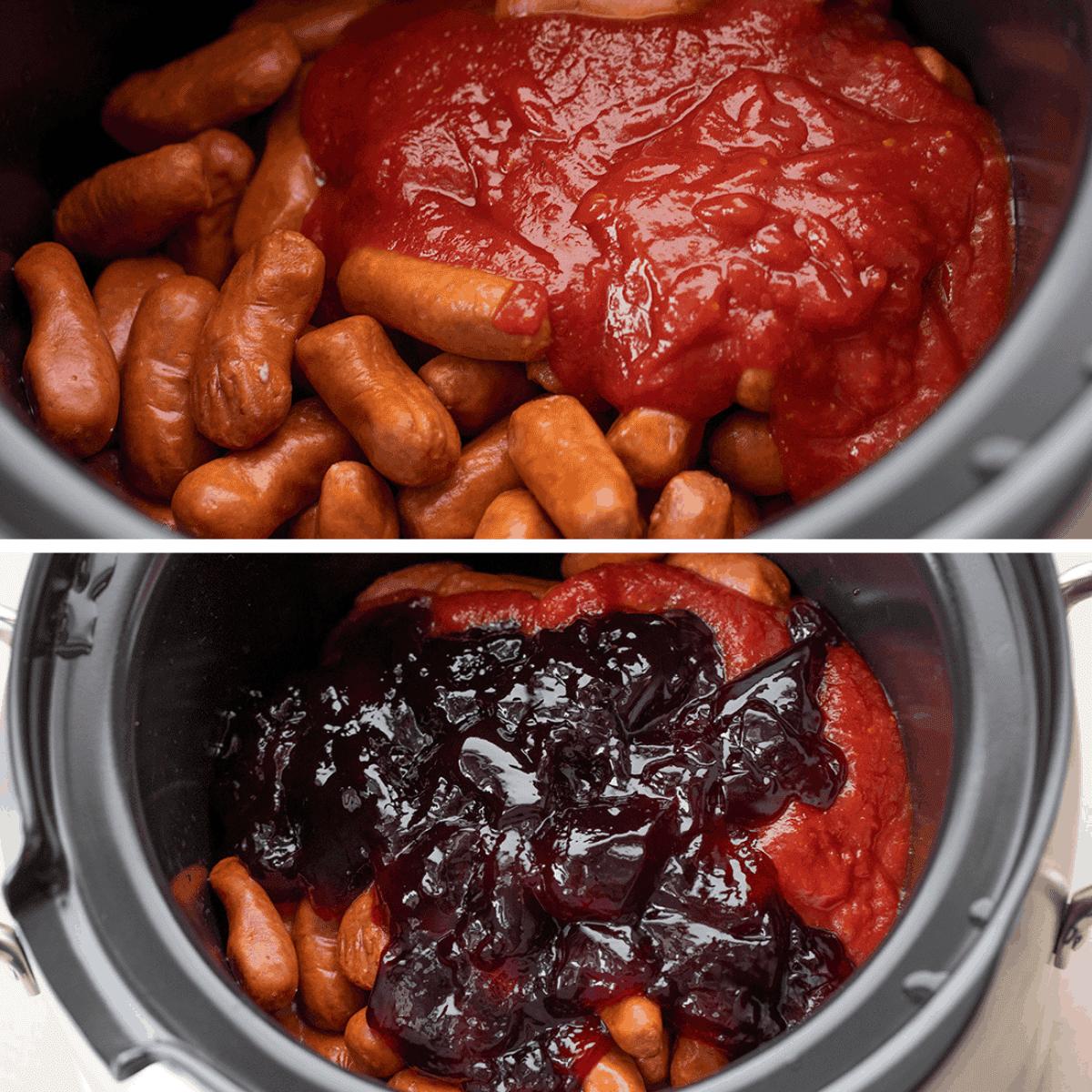 Process Images of Crockpot Grape Jelly Smokies