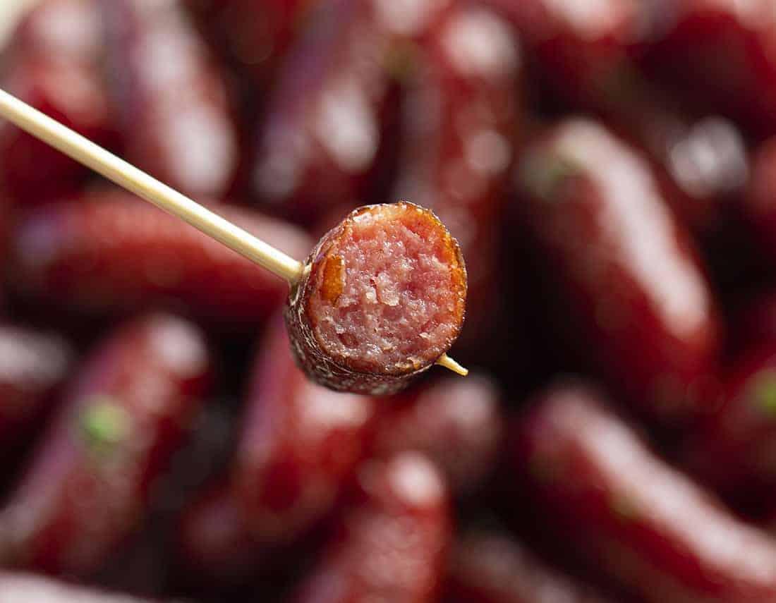 Crockpot Grape Jelly Lil Smokie on Toothpick