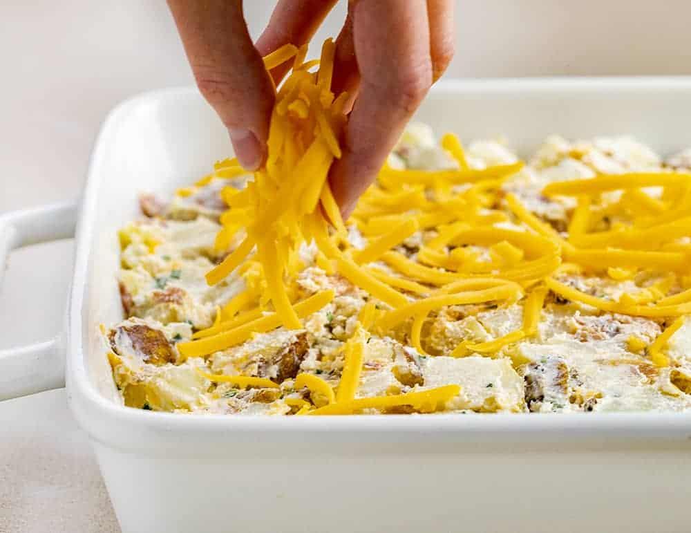 Adding Cheese to Twice Baked Potato Casserole
