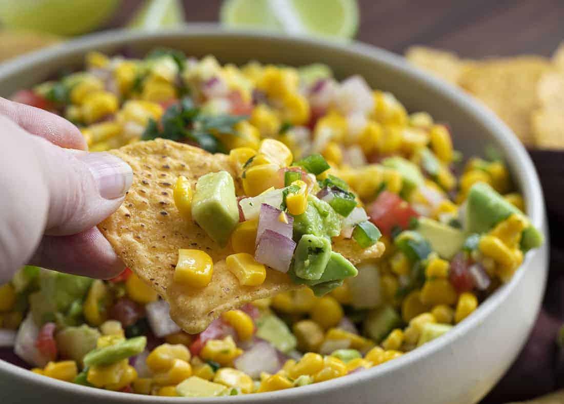 Chip with Avocado Corn Salsa