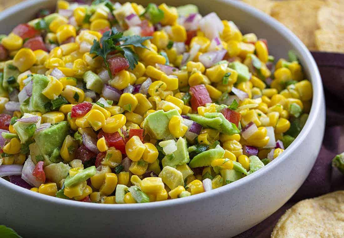 Bowl of Avocado Corn Salsa