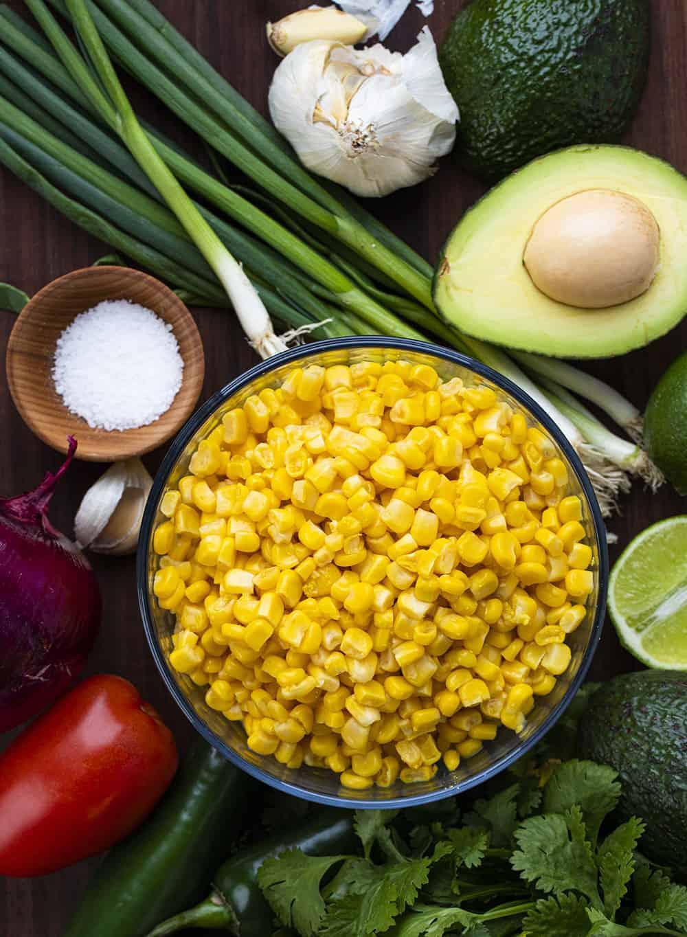 Raw Ingredients for Avocado Corn Salsa