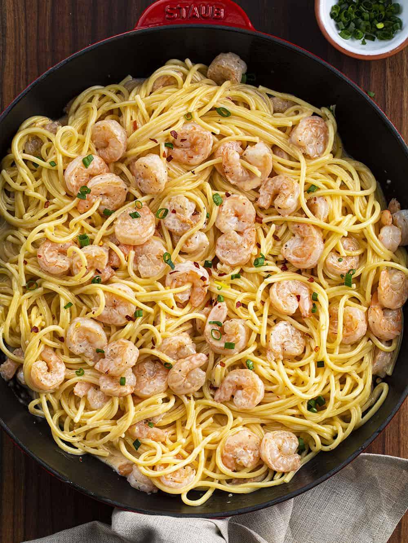 Skillet of Bang Bang Shrimp Pasta Recipe