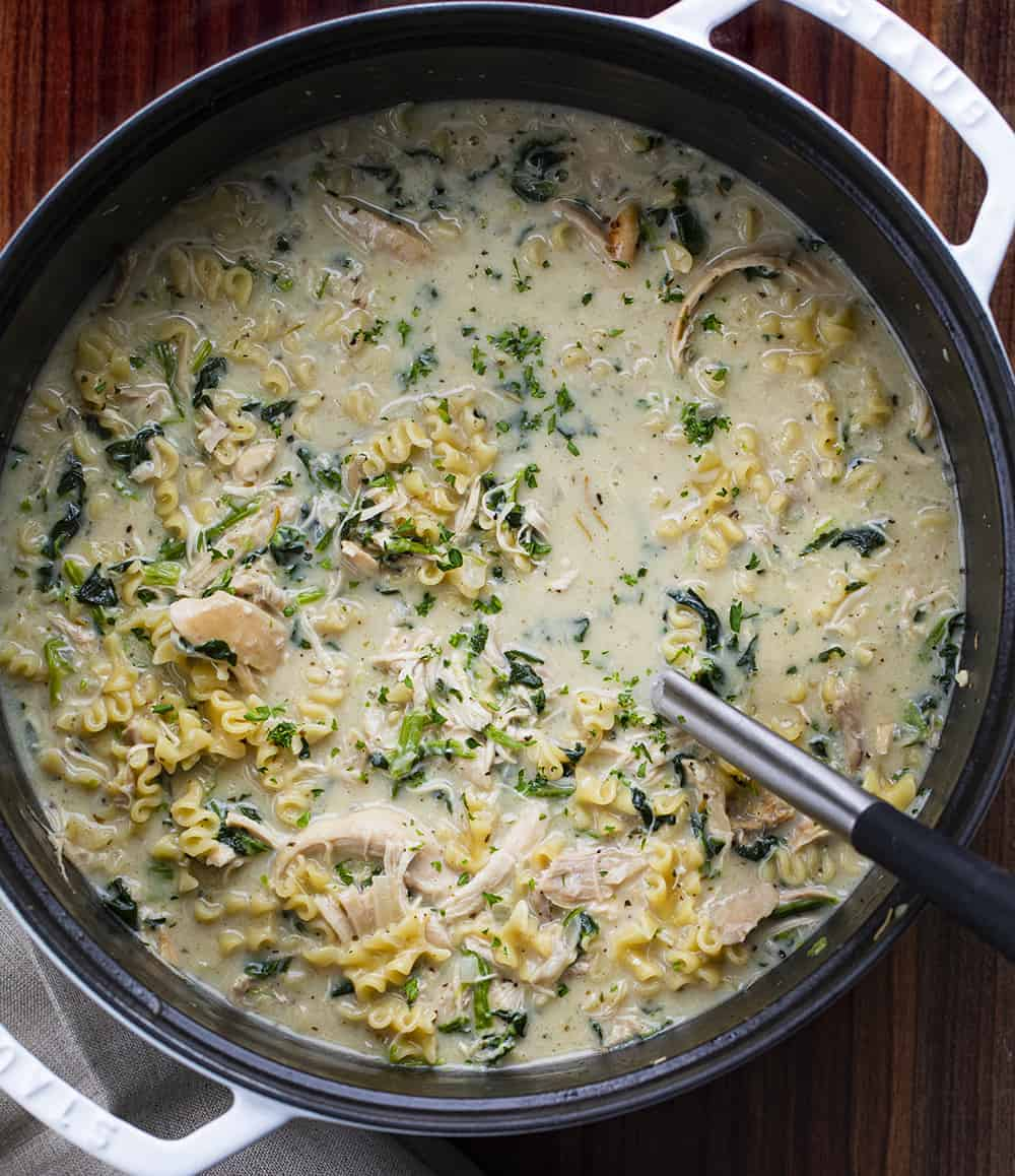 Overhead of White Chicken Lasagna Soup in Pan