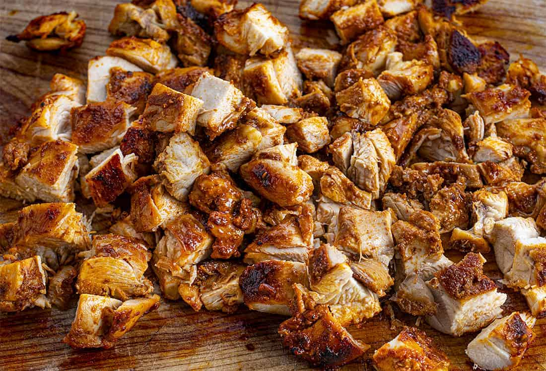 Chopped Chipotle Chicken on a Cutting Board