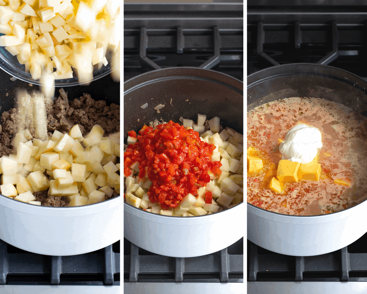 Cheeseburger Soup Process of Adding Ingredients