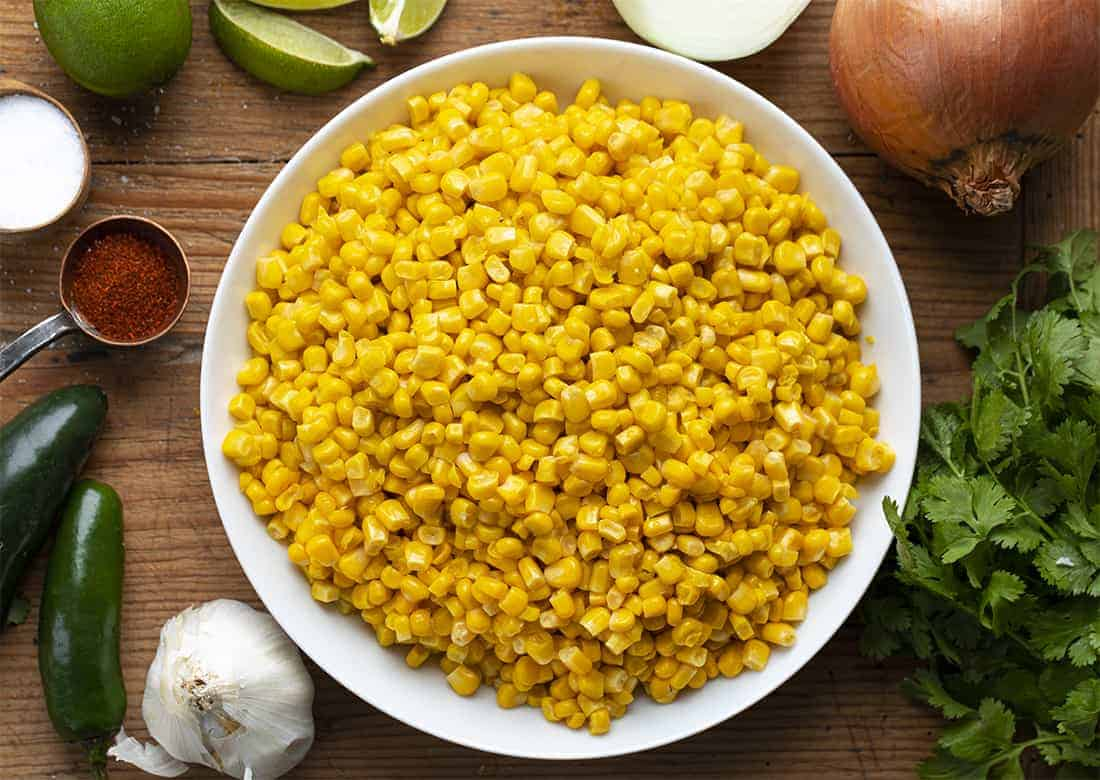 Raw Ingredients for Esquites Soup - Mexican Street Corn Soup Recipe
