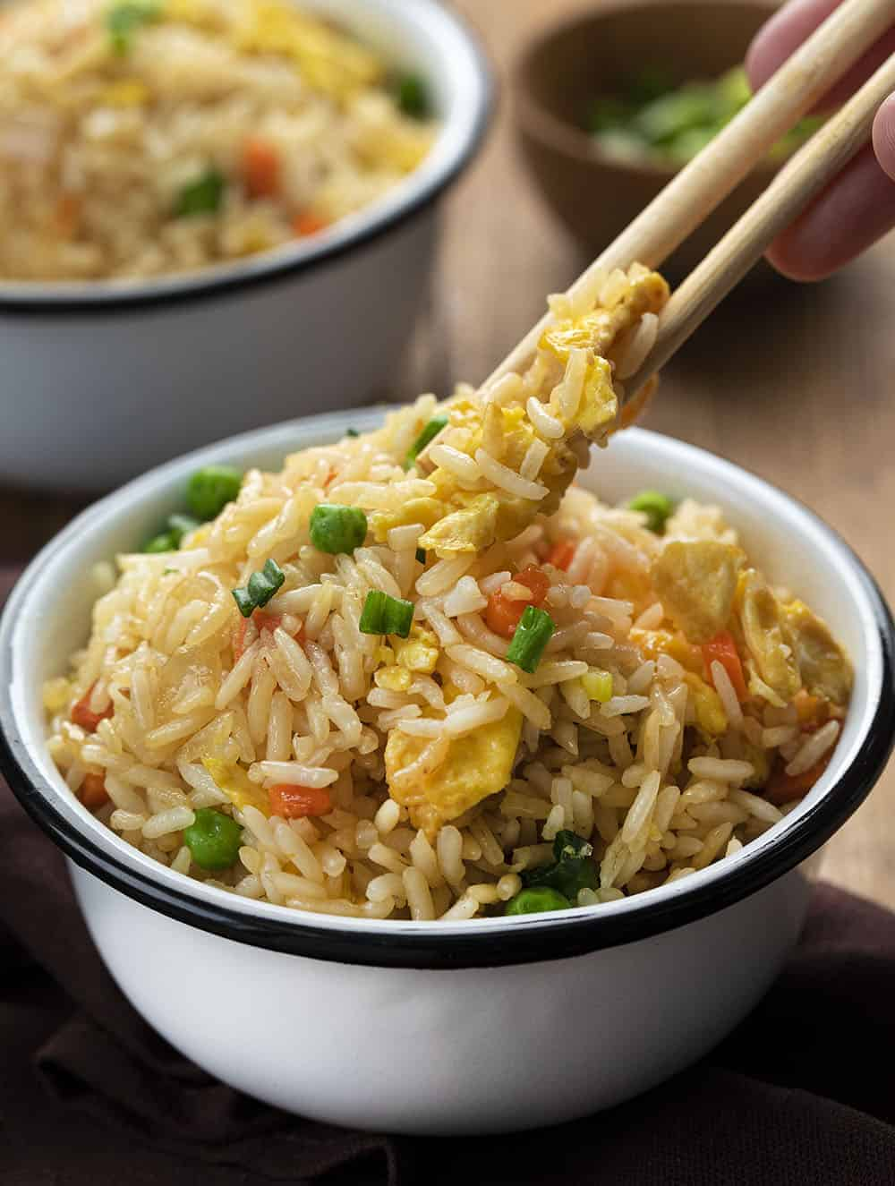 Picking up Fried Rice with Chop Sticks