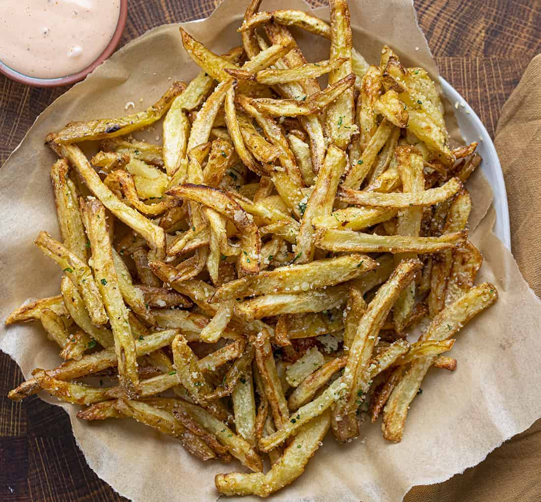 Garlic Parmesan French Fries from Overhead