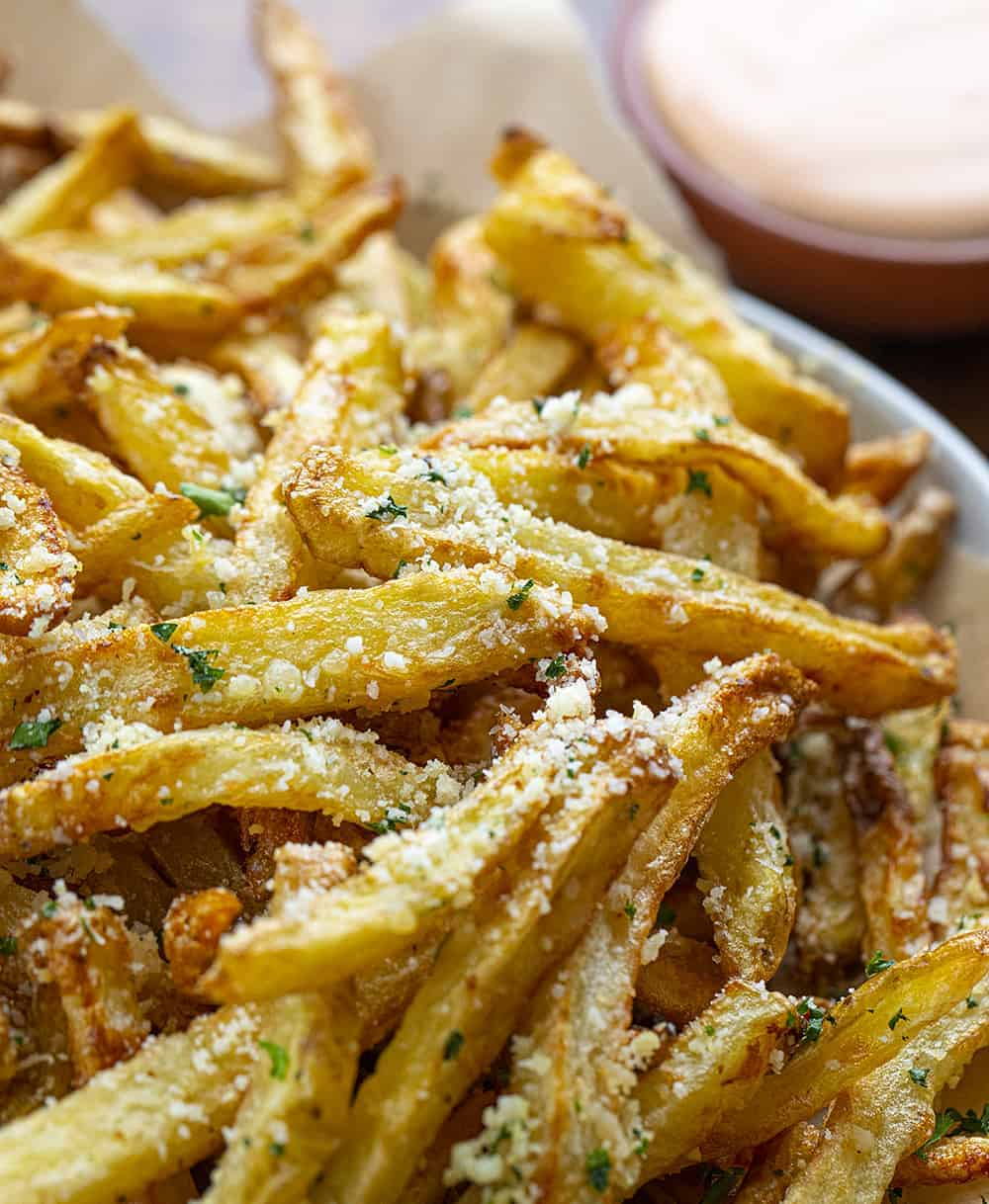 Close Up of Garlic Parmesan French Fries made in Air Fryer