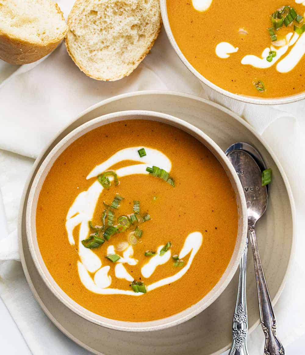 Roasted Red Pepper Soup from Overhead