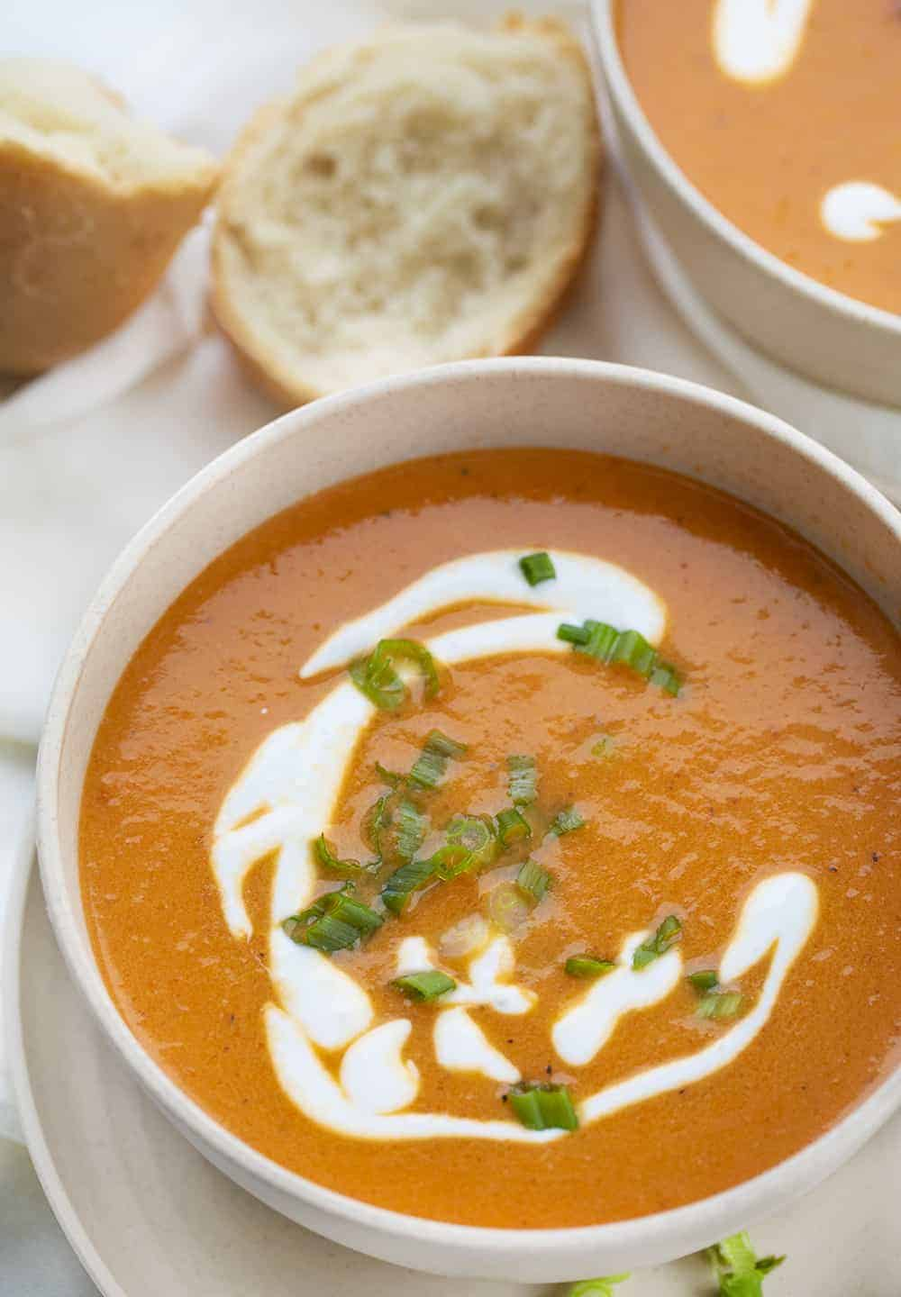 Roasted Red Pepper Soup in Bowl