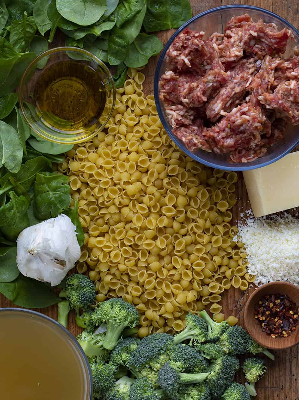 Raw Ingredients for Broccoli and Sausage Pasta