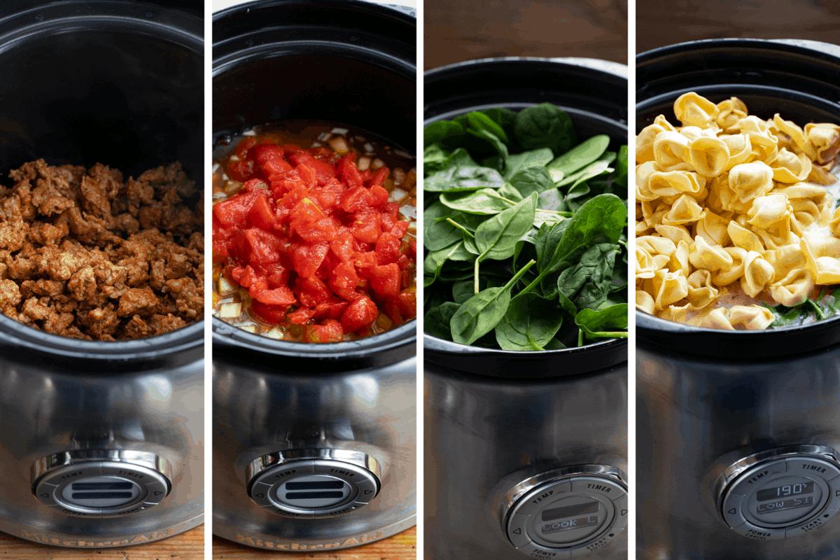 Process of Adding Ingredients to Crockpot Sausage Tortellini Soup