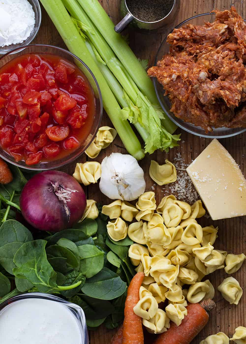 Raw Ingredients for Crockpot Sausage Tortellini Soup