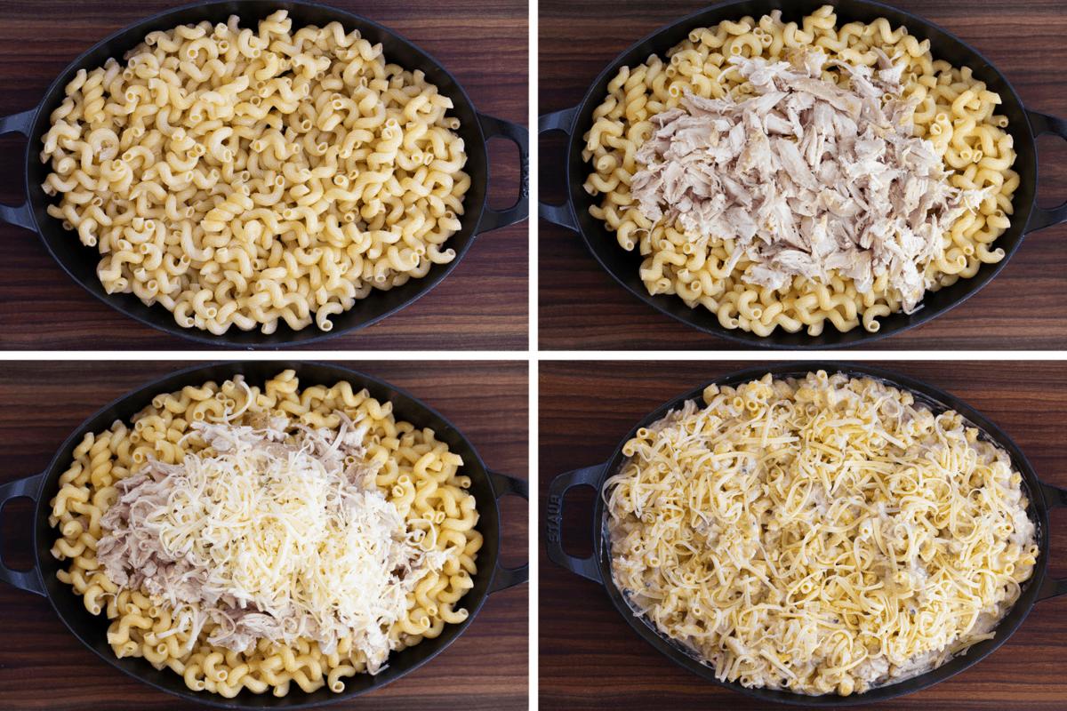 Process of adding ingredients to Chicken Alfredo Pasta Casserole
