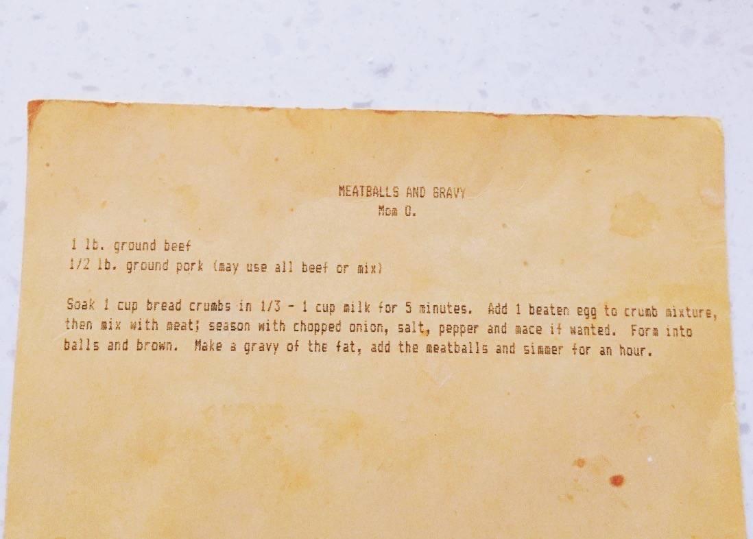 Real Recipe Card for Swedish Meatballs