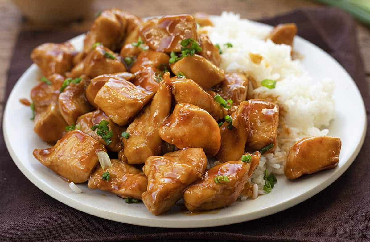 Easy Bourbon Chicken Recipe on Plate with Rice