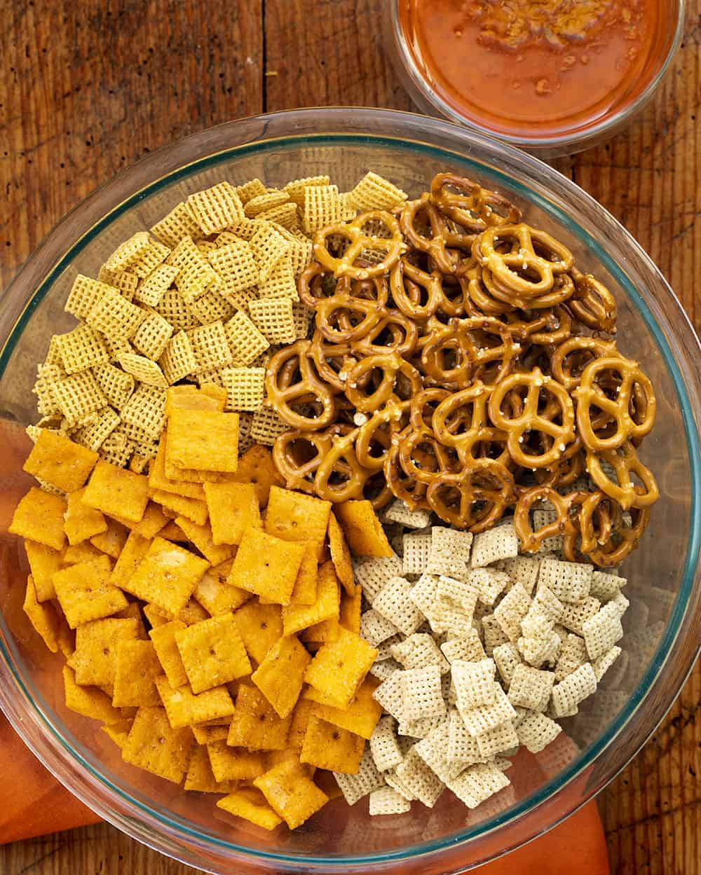 Ingredients for Buffalo Chex Mix