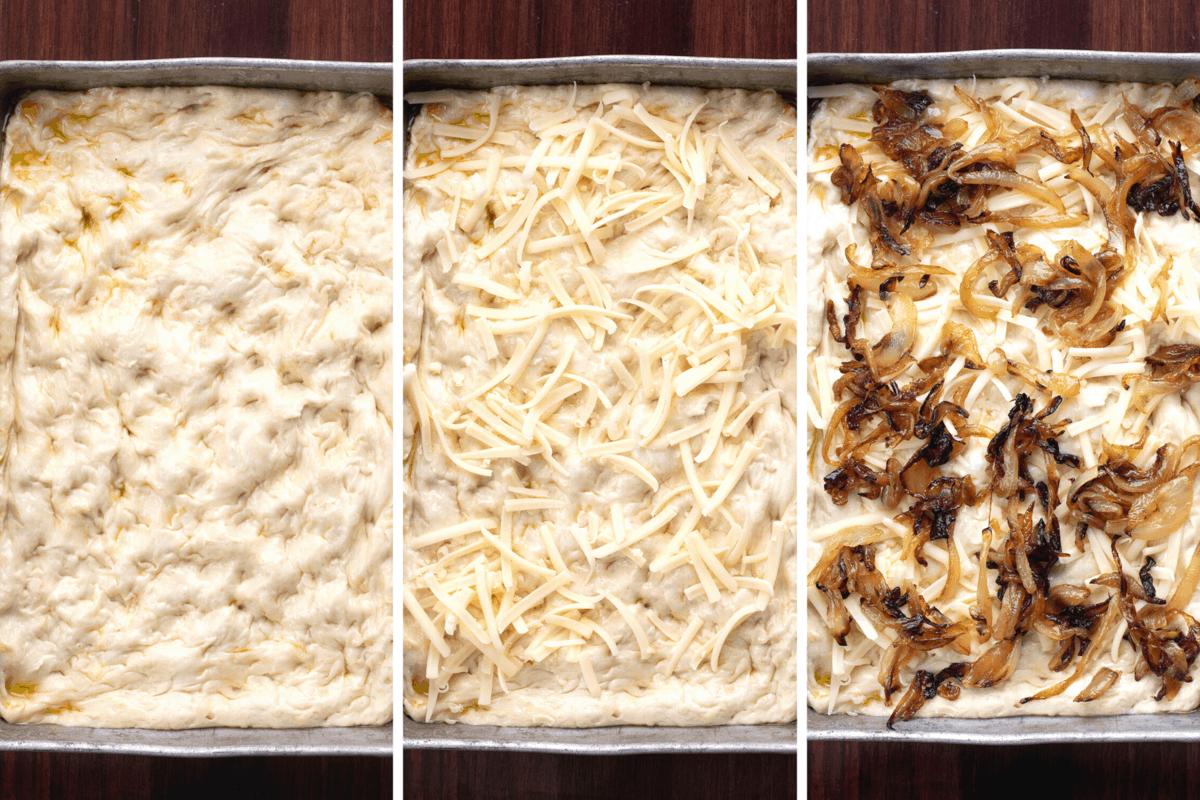 Cheesy Onion Focaccia Bread Process of Adding Cheese and Onions