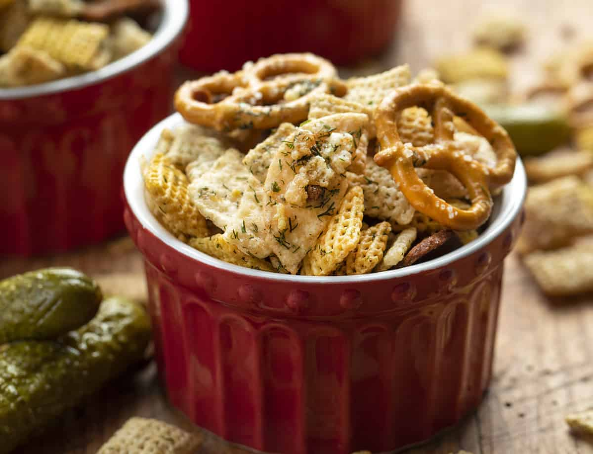 Bowl of Dill Pickle Chex Mix