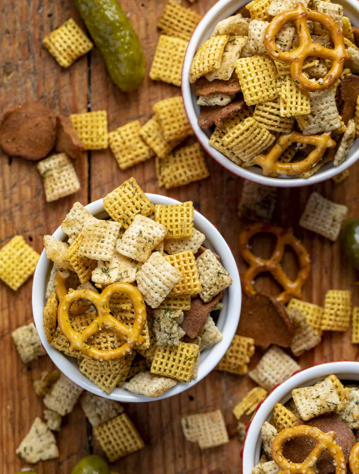 Dill Pickle Chex Mix in Individual Cups