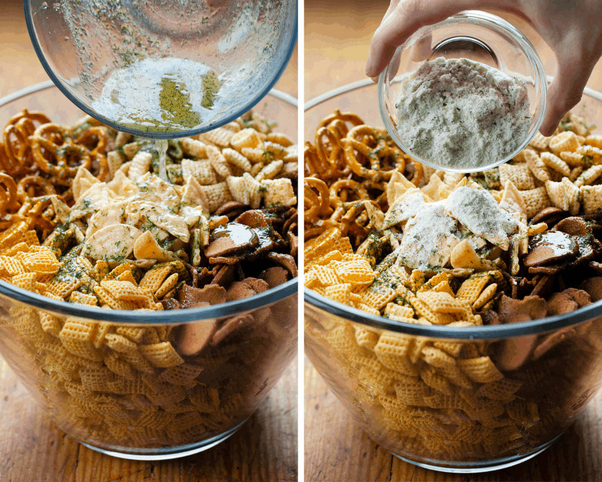 Adding Pickle Juice and Seasoning to Dill Pickle Chex Mix