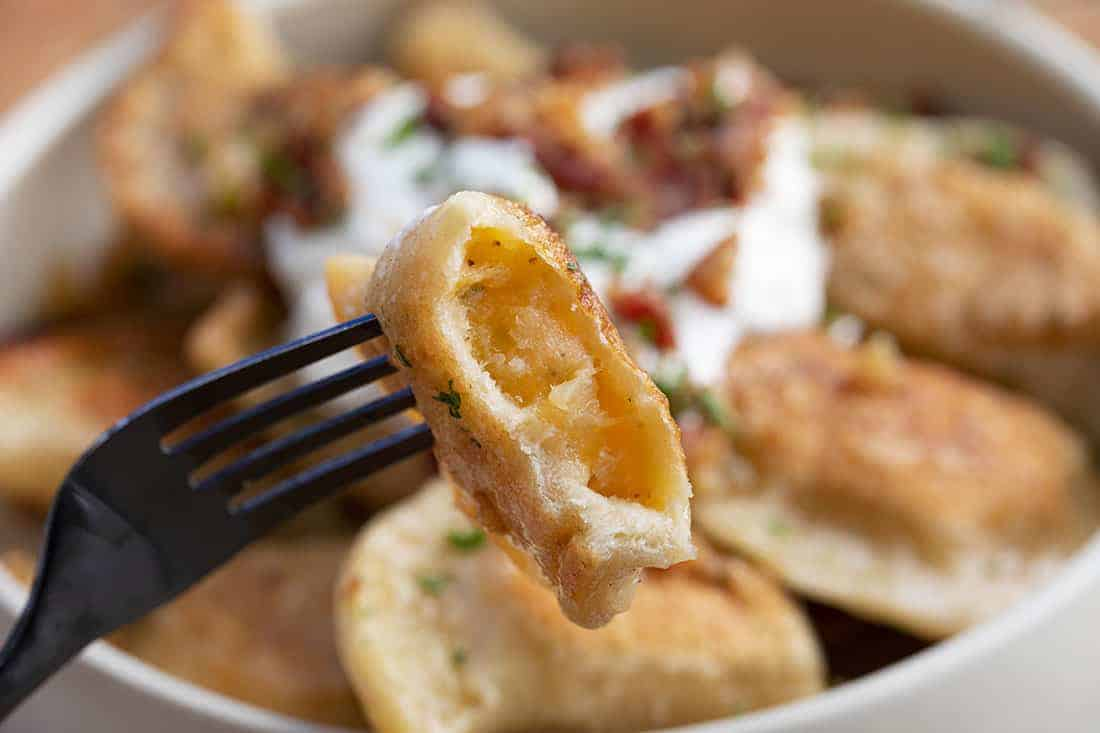 Pierogi Ruskie (Potato and Cheese Pierogi) Bit Into