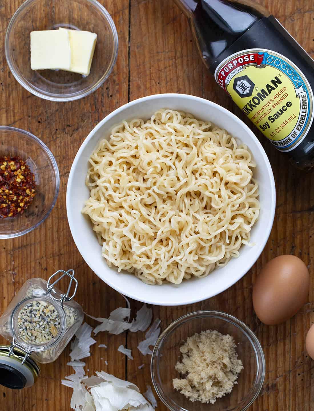 Raw Ingredients for Easy Ramen Recipe in a Bowl (Tiktok Recipe)