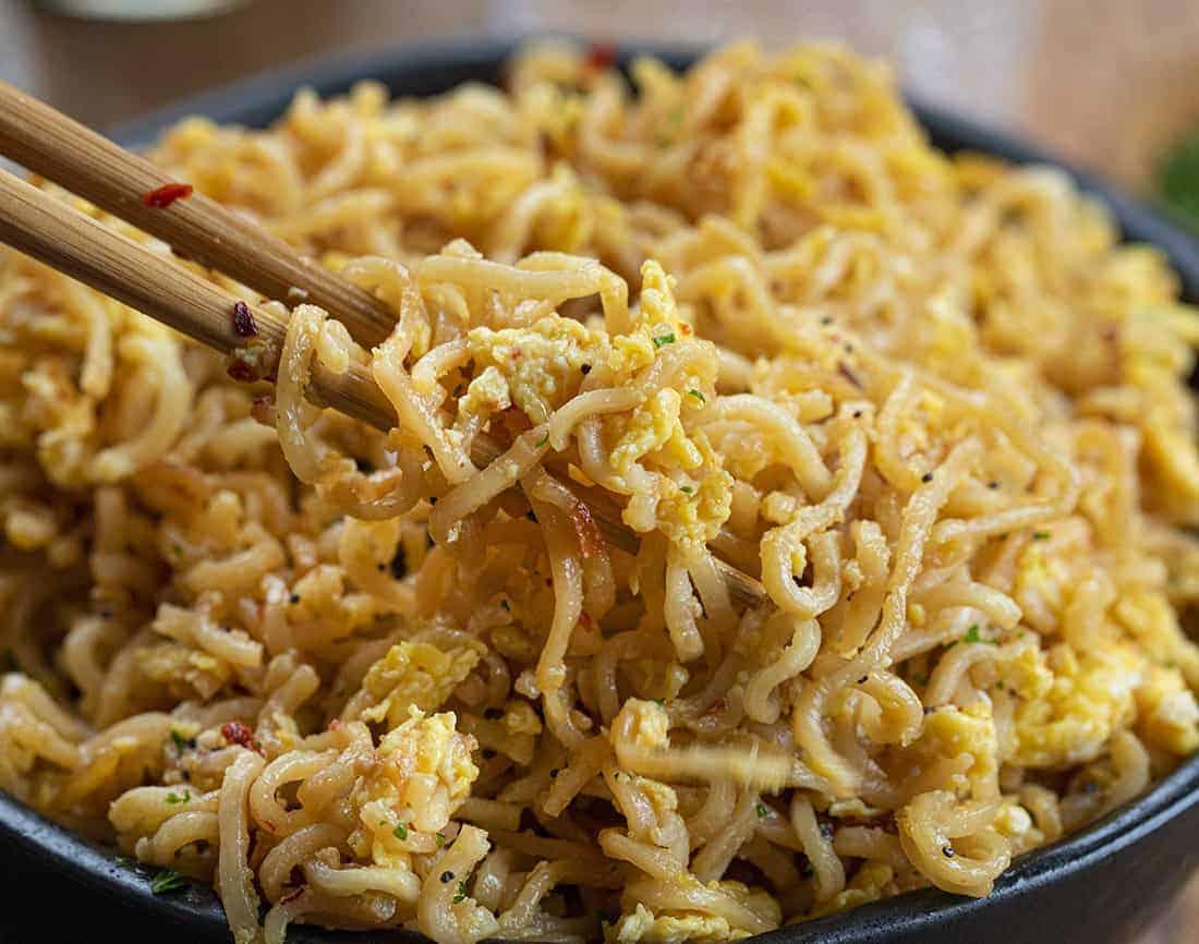 Chopsticks picking up Easy Ramen Recipe in a Bowl (Tiktok Recipe)