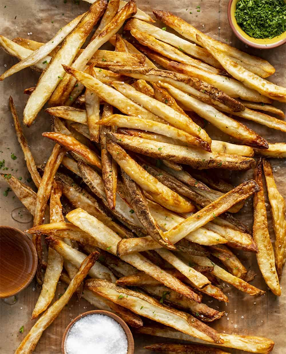 Air Fryer Salt & Vinegar French Fries from Overhead