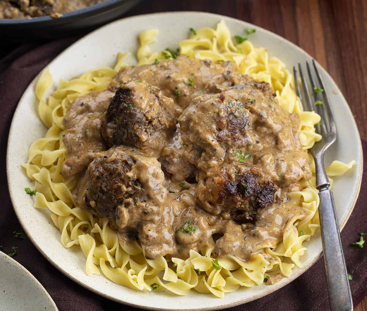 Plate with noodles and Authentic Swedish Meatballs