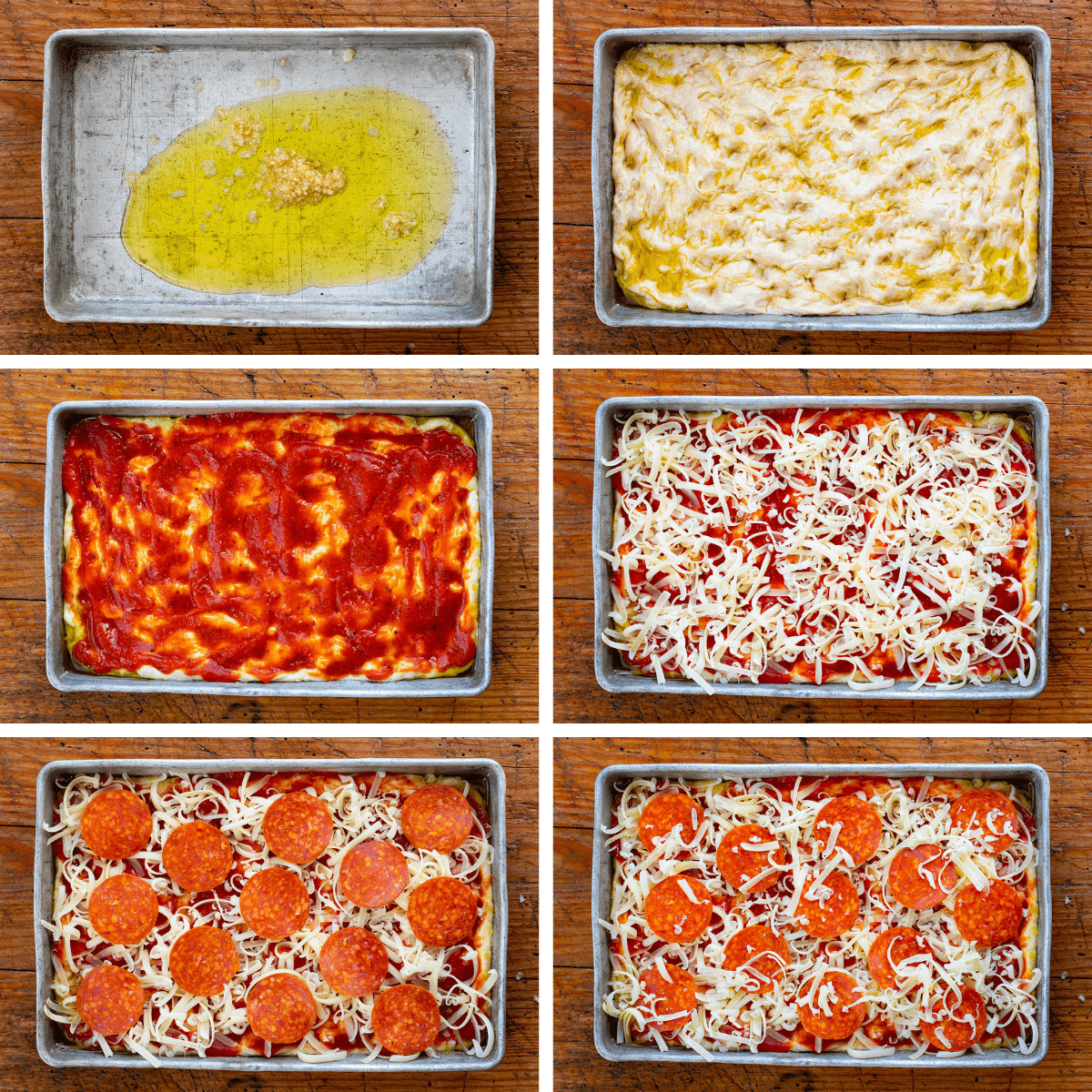 Adding the Layers to Focaccia Pepperoni Pizza