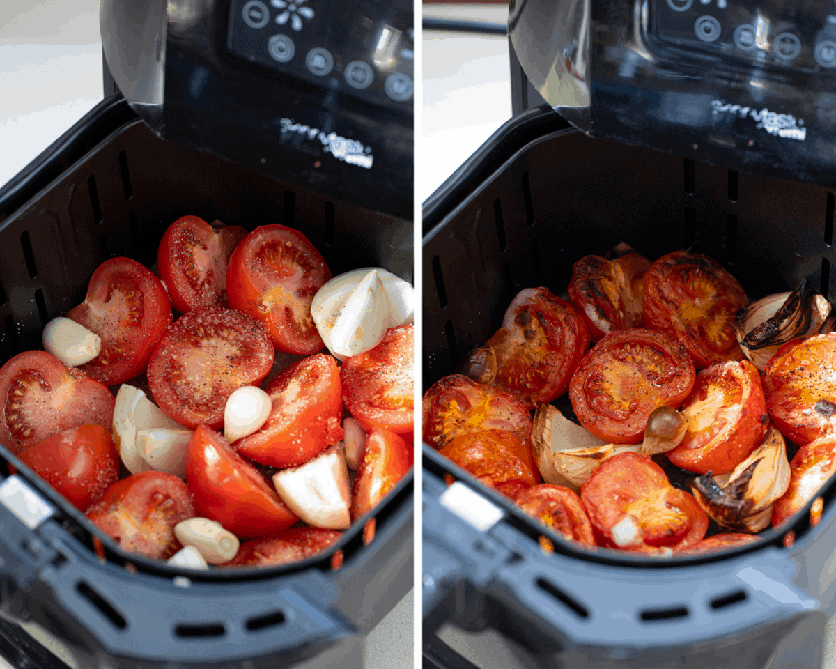 Air Fryer Roasted Tomato Soup Recipe - ingredients in Air Fryer
