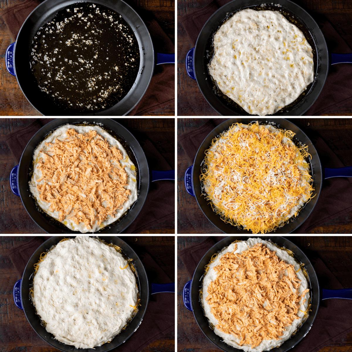 Process for the Layers of Buffalo Chicken Focaccia Pizza