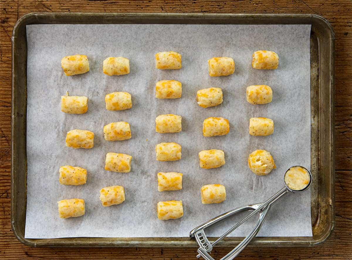 Process of Making Air Fryer Cheesy Tater Tots from Scratch