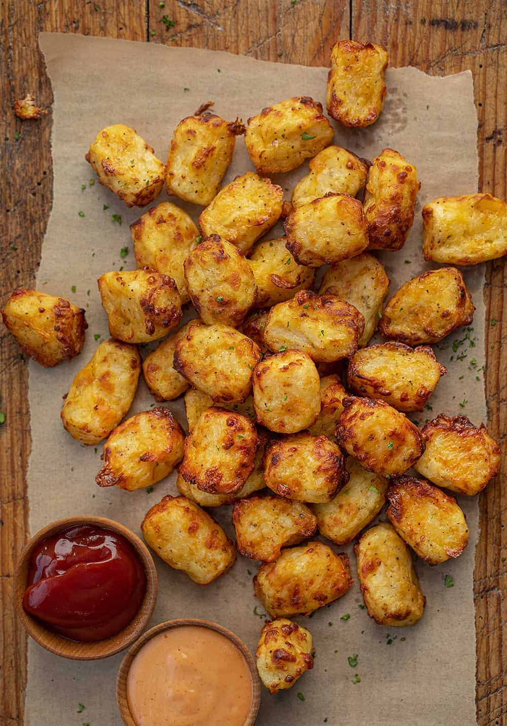 Overhead of Air Fryer Cheesy Tater Tots