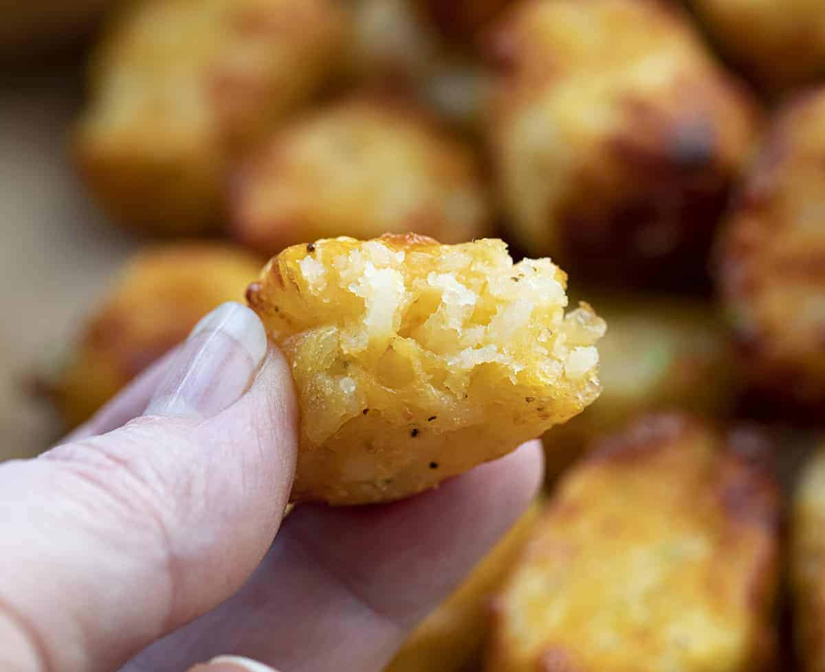 Hand Holding Air Fryer Cheesy Tater Tot