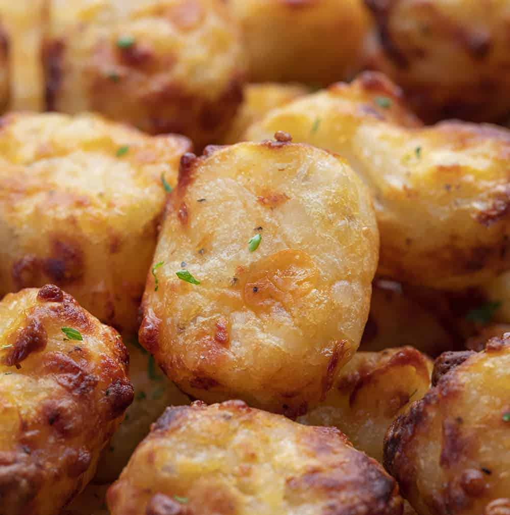 Very Close up of Air Fryer Cheesy Tater Tots from Scratch