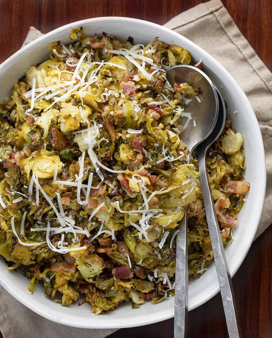 Shredded Brussels Sprouts in a Bowl