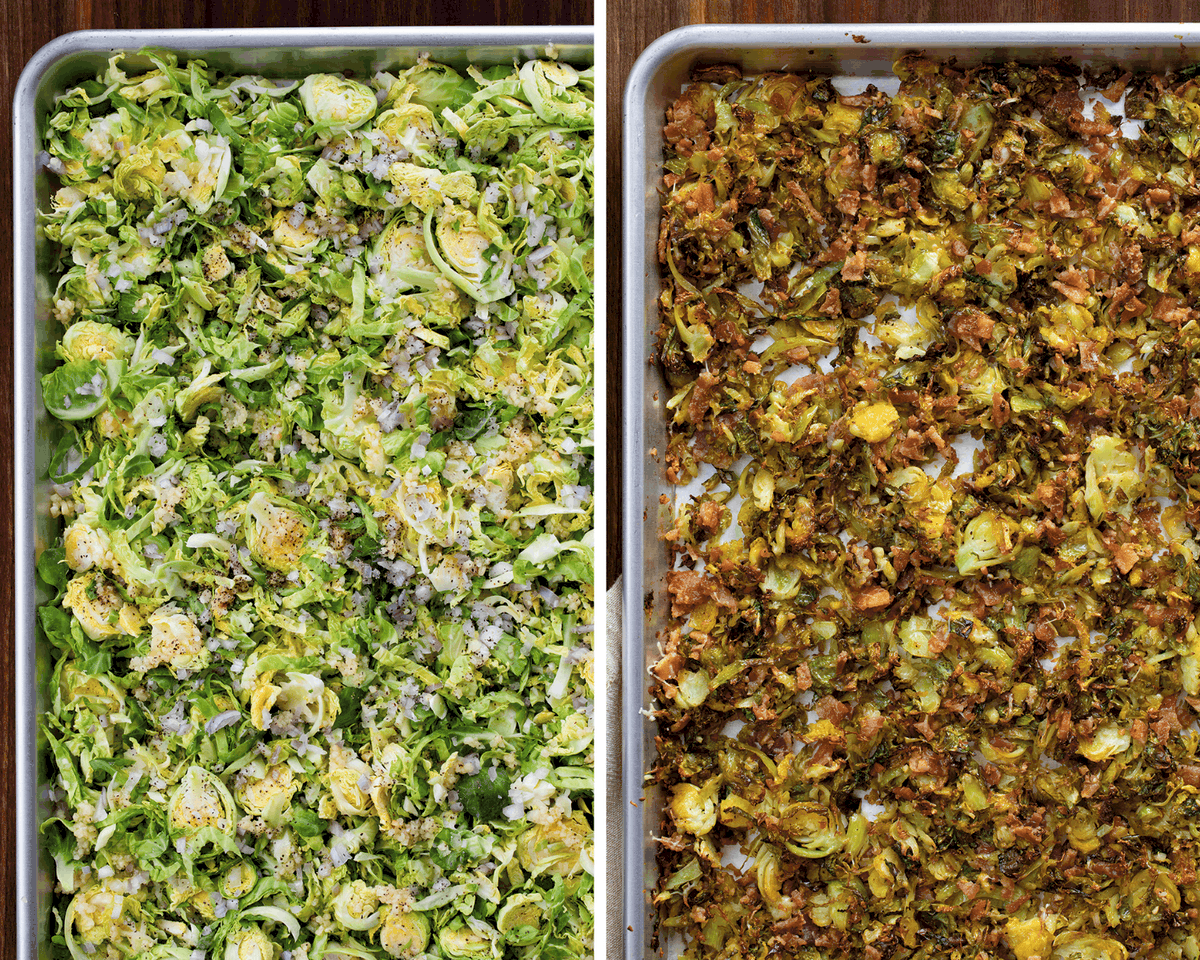 Shredded Brussels Sprouts Before and After Roasting on Sheetpan