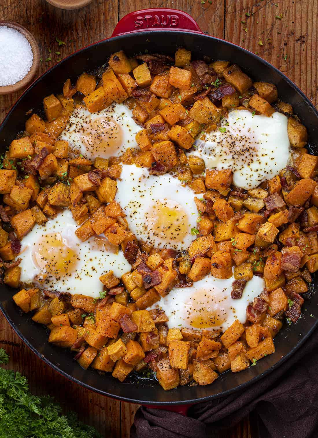Overhead of Sweet Potato Hash in a Skillet