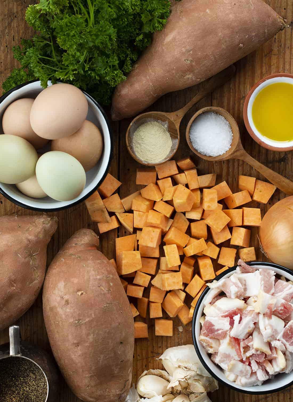 Raw Ingredients for Sweet Potato Hash