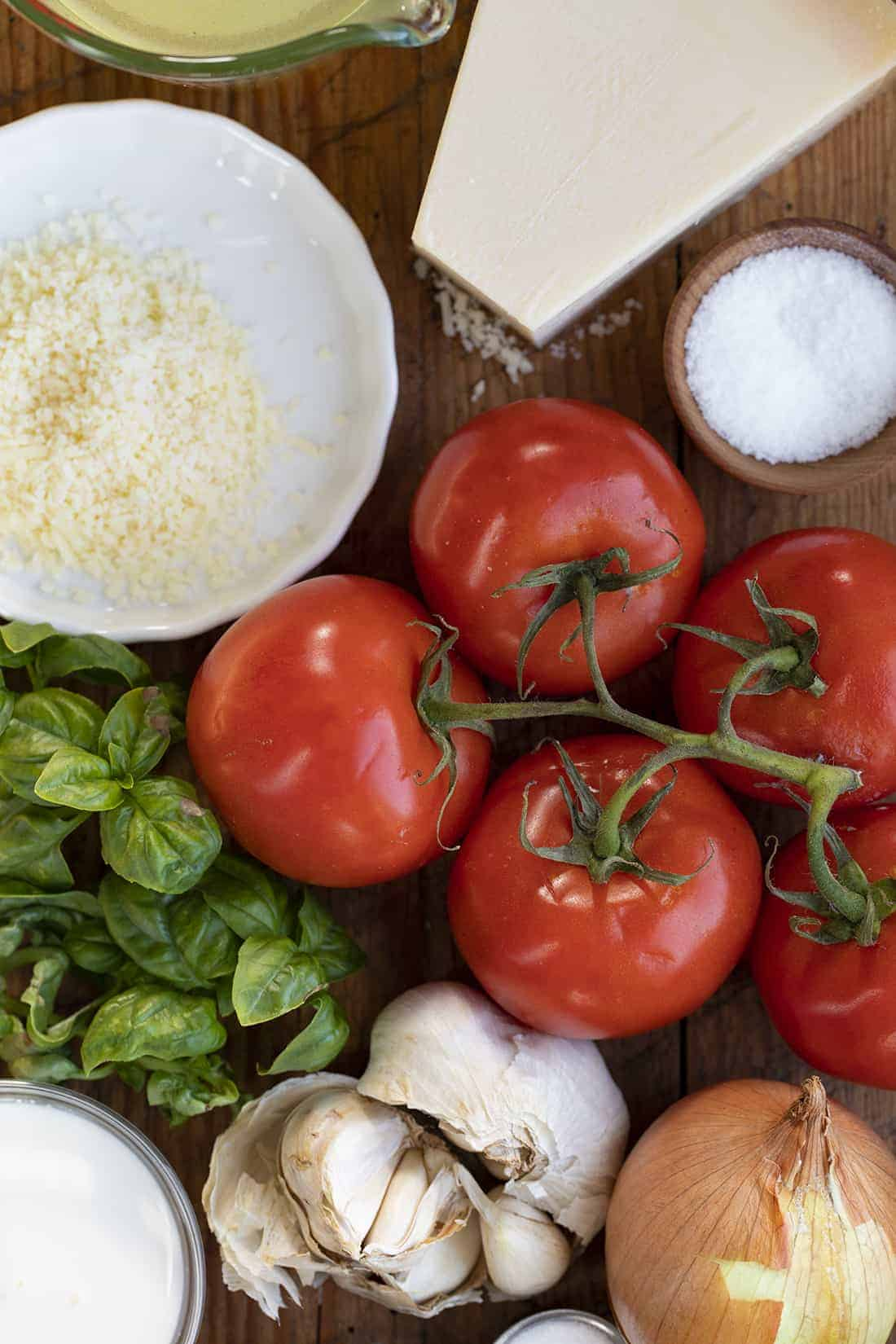 Raw Ingredients for Air Fryer Roasted Tomato Soup Recipe