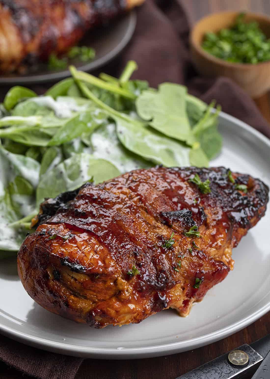 One Air Fryer BBQ Stuffed Chicken on Plate